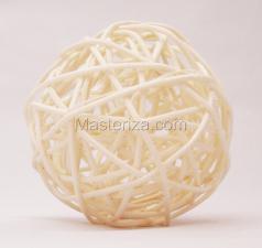 Ротанговый шар (белый). Размер - 7 см.