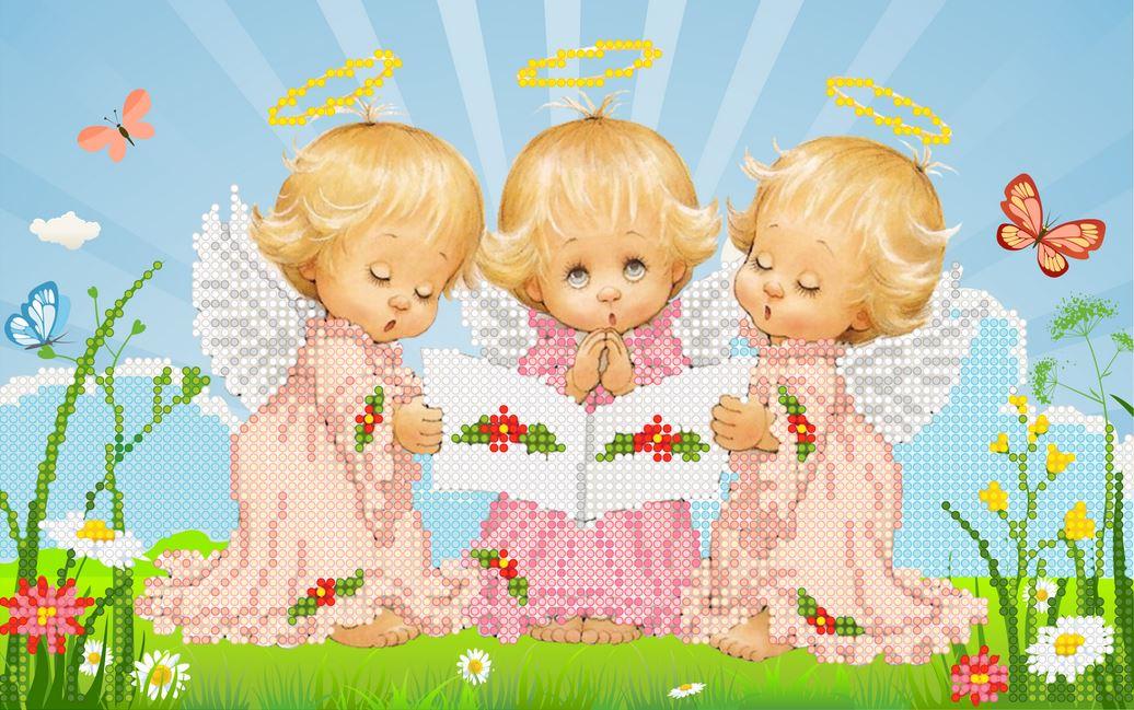 Схема для вышивки с тремя ангелочками 204