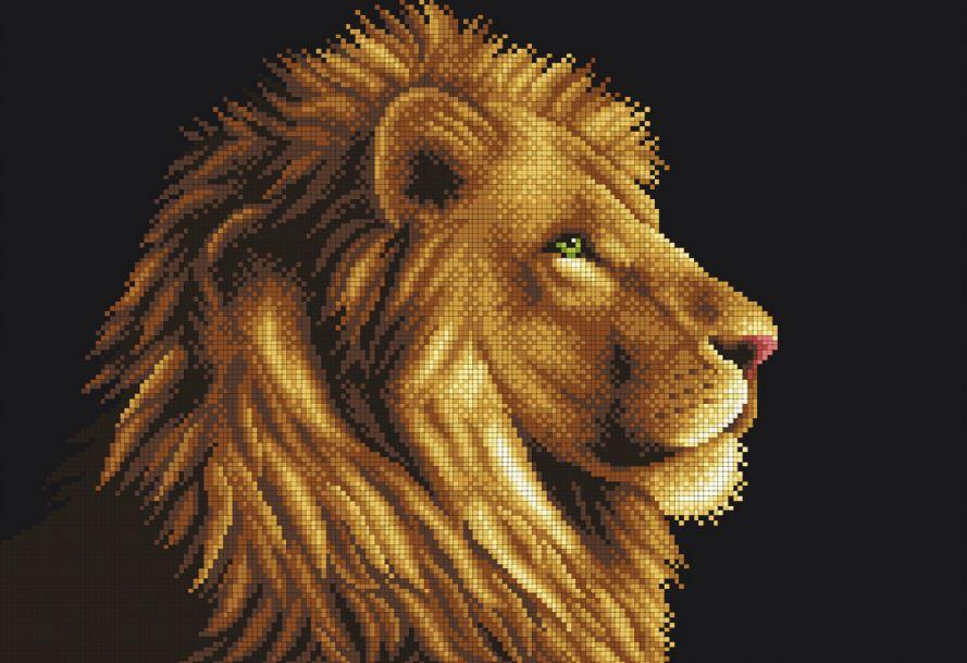 Схема льва для вышивки бисером