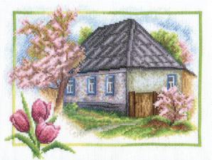 Весна в деревне. Размер - 25 х 20 см.