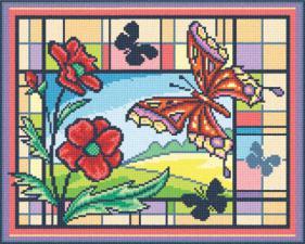 Витраж с бабочками. Размер - 28,5 х 22,5 см.