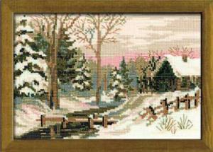 Зимний пейзаж. Размер - 21 х 15 см.
