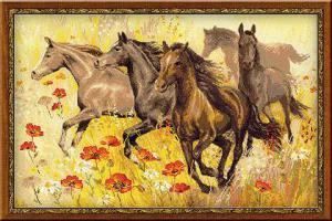 Табун лошадей. Размер - 60 х 40 см